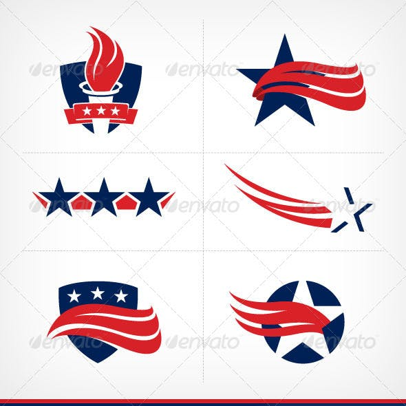 Stars and Stripes Graphic Elements