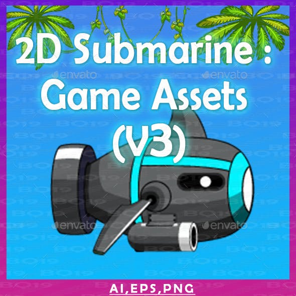 2D Submarine : Game Assets (V3)
