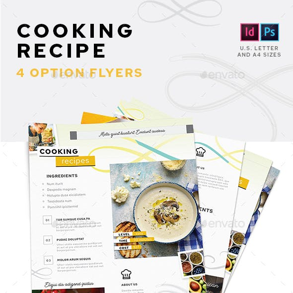 Cooking Recipe Flyers – 4 Options