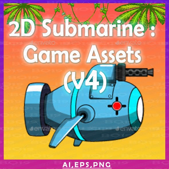 2D Submarine : Game Assets (V4)