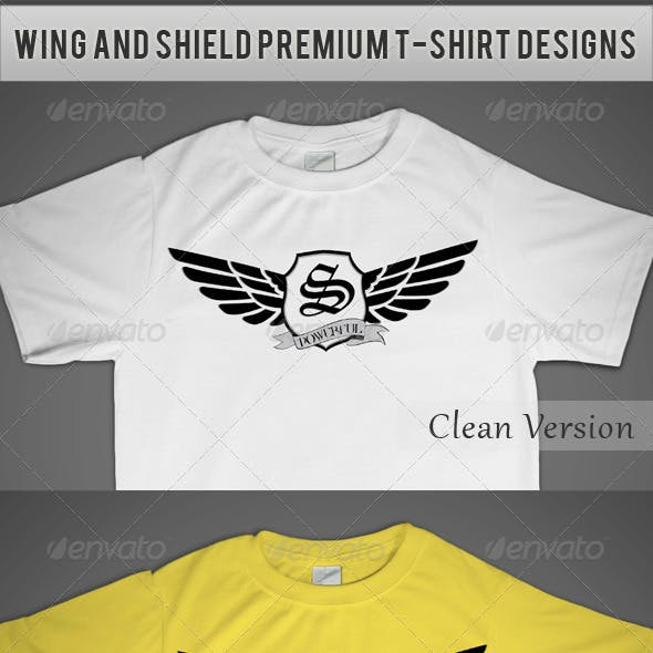 Wing and Shield Premium T-Shirt Designs