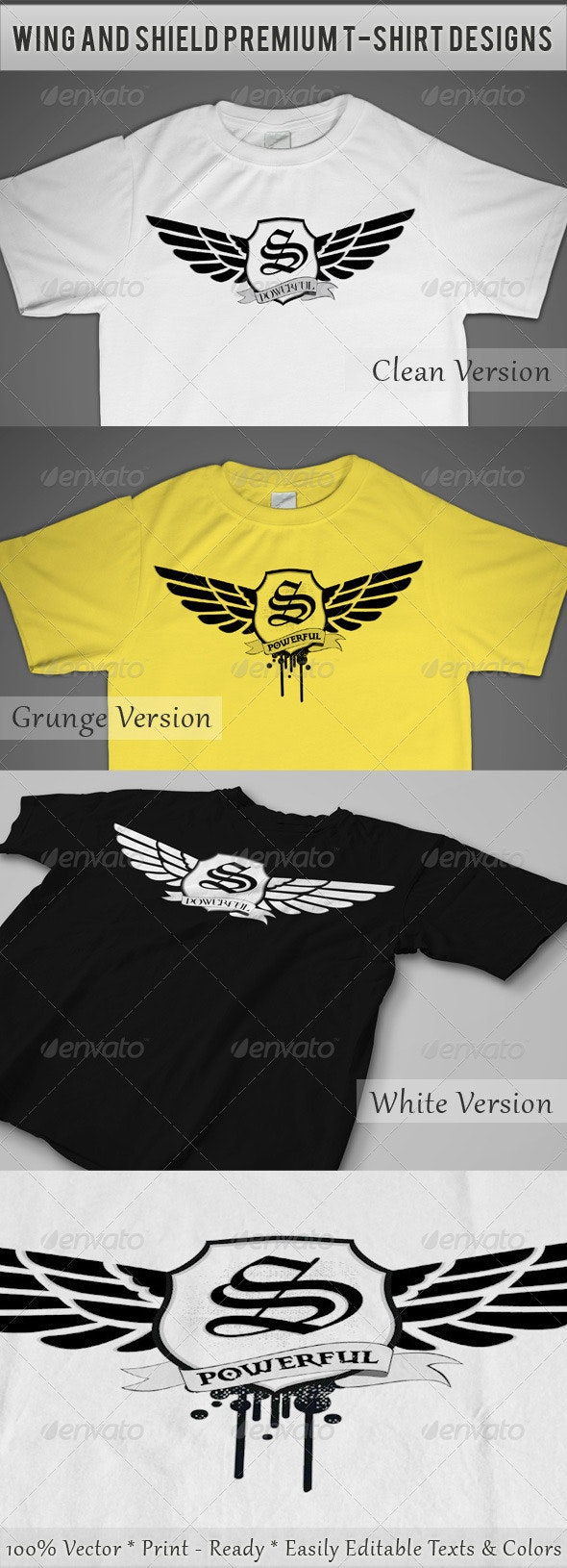 Wing and Shield Premium T-Shirt Designs - Designs T-Shirts