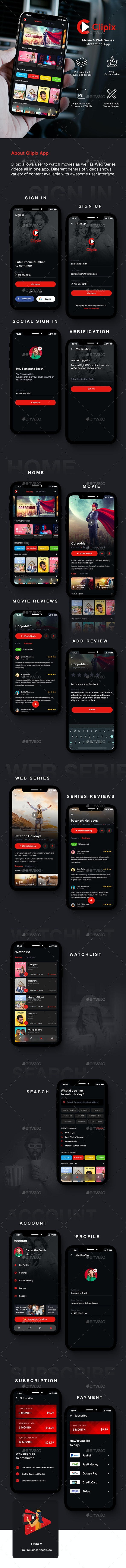 Movie, TV show & Web Series Streaming App UI Kit | Clipix - User Interfaces Web Elements