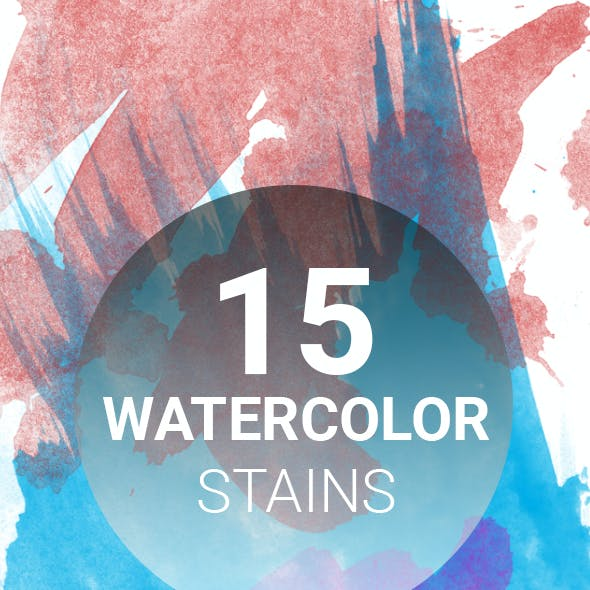 15 Watercolor Stains Photoshop brushes