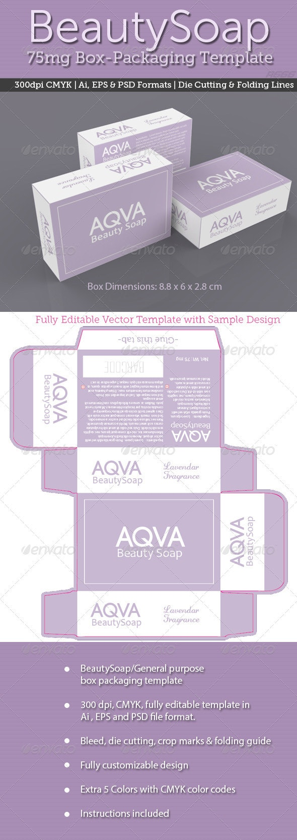 BeautySoap Box Packaging Template - Packaging Print Templates