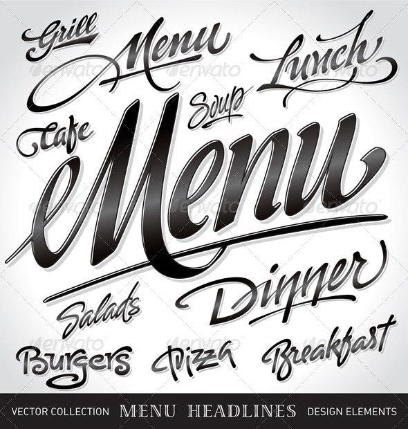 Menu Headlines Set - Decorative Vectors