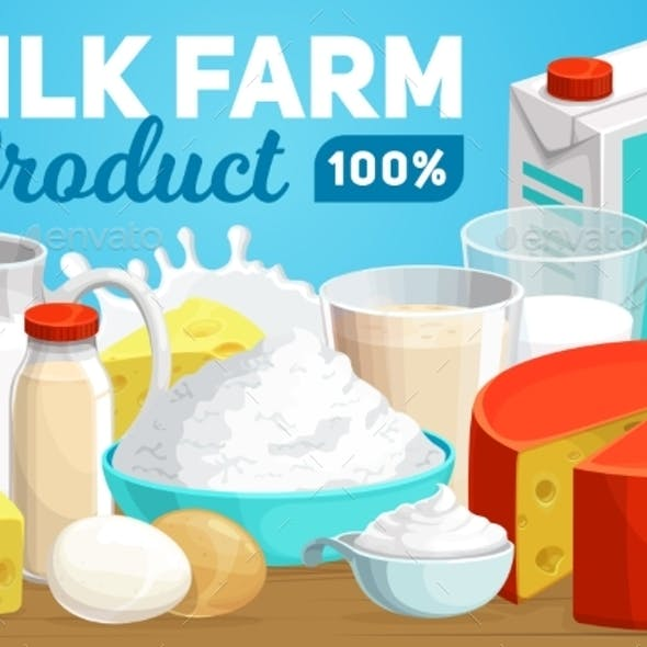 Dairy Products and Farm Milk Vector Banner