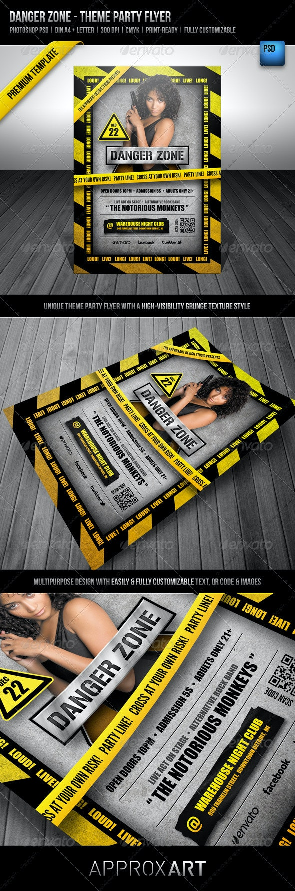 Danger Zone - Theme Party Flyer - Clubs & Parties Events