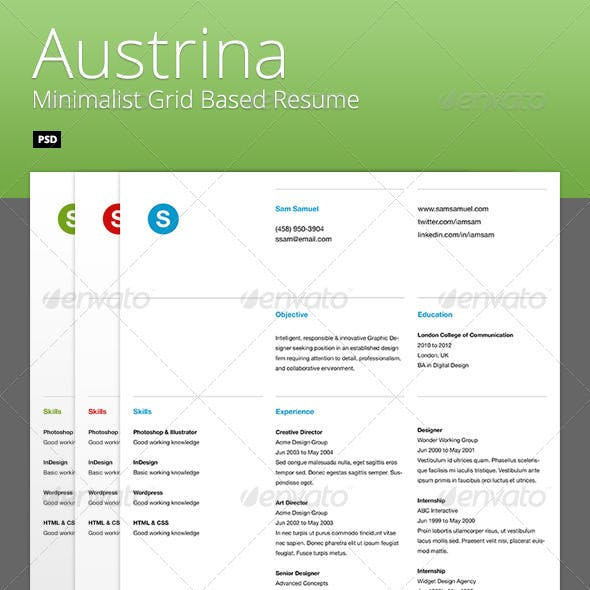 Austrina - Minimalist Grid Based Resume