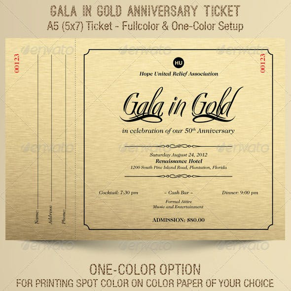 Gold Gala Anniversary Ticket Template