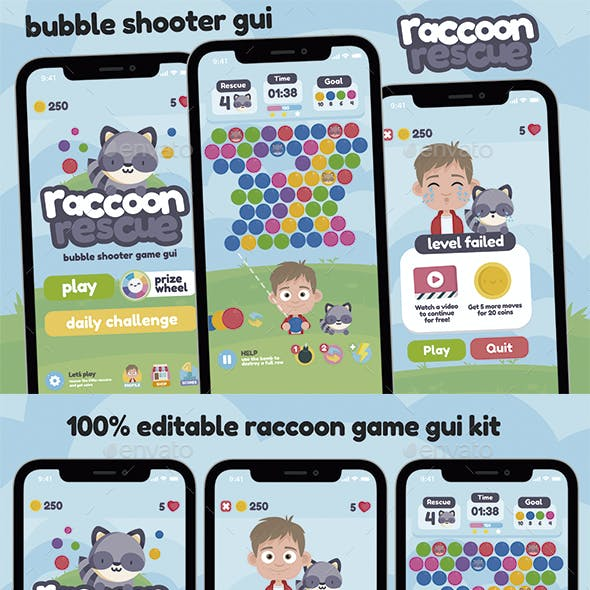 Racoon Rescue Game GUI Assets