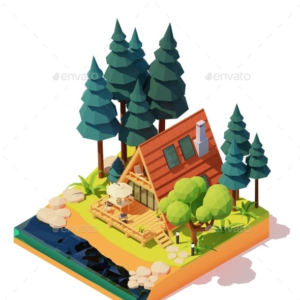 Vector Isometric A-Frame House in the Wood