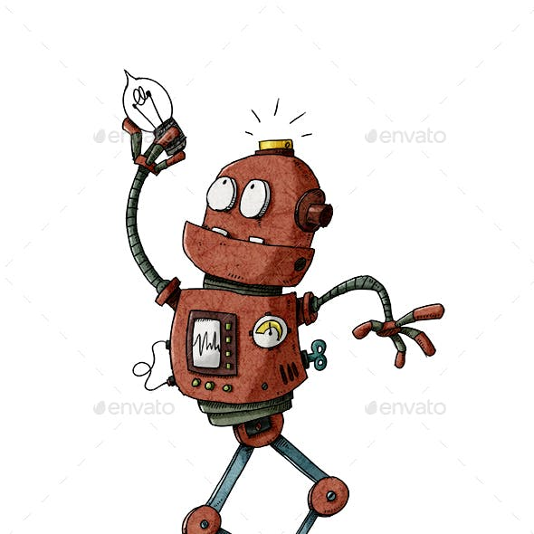 Funny Robot With Light Bulb in His Hand