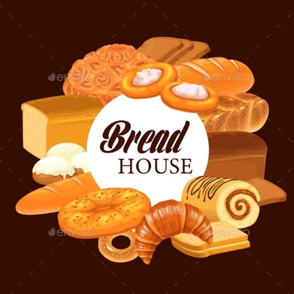 Sweet Pastry and Bread Round Vector Banner