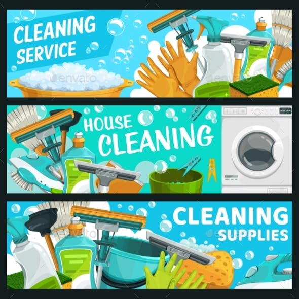 Cleaning Service, Laundry and Hygiene Banners