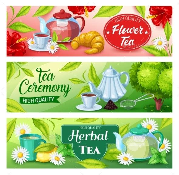 Tea Beverage Banners Of Green Herbal Black Drink By Buchandbee Graphicriver