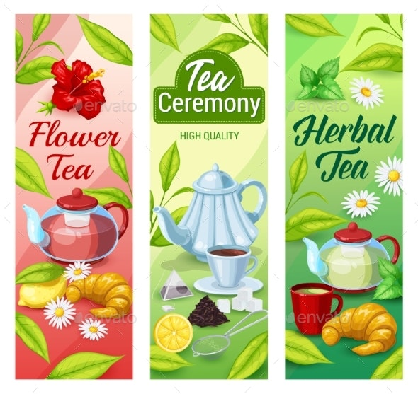 Green Black And Herbal Tea Beverage Banners By Buchandbee Graphicriver