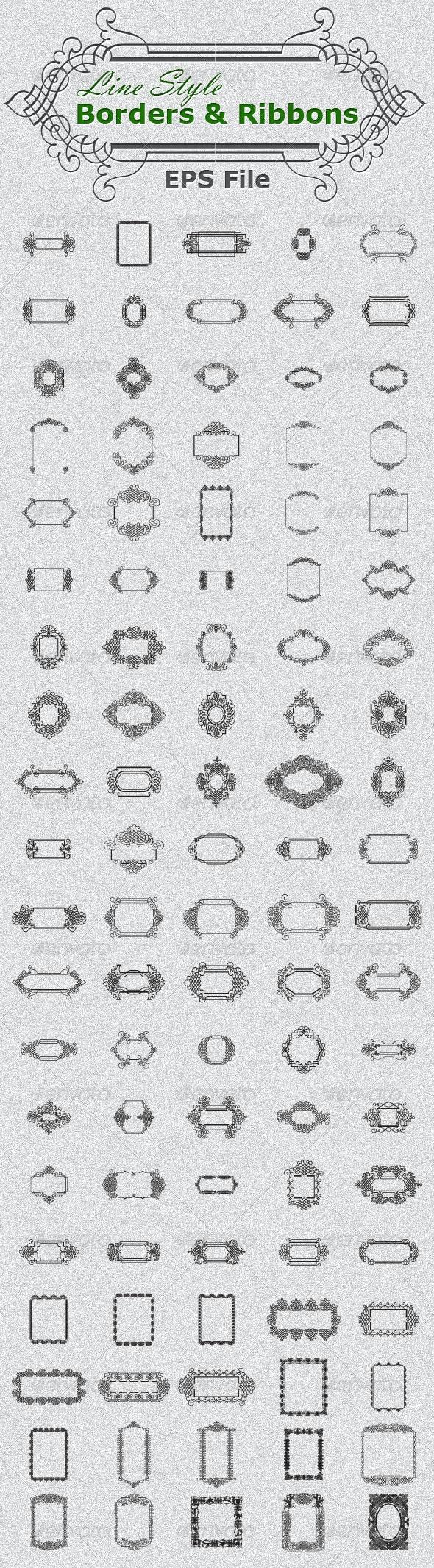 Mega Border & Ribbons Collection (Line Style) - Borders Decorative