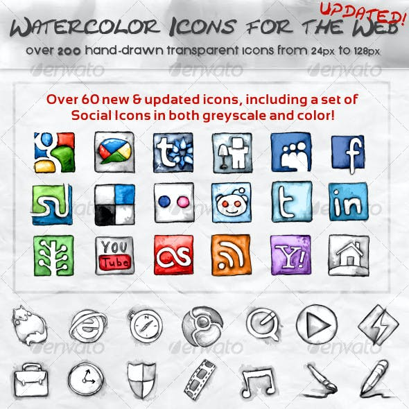 Watercolor Icons for the Web - Black & White