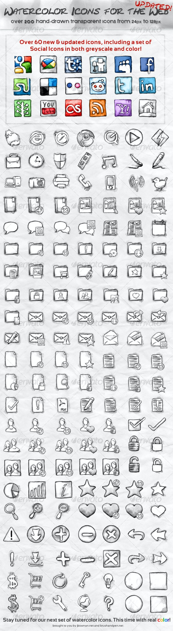 Watercolor Icons for the Web - Black & White - Web Icons