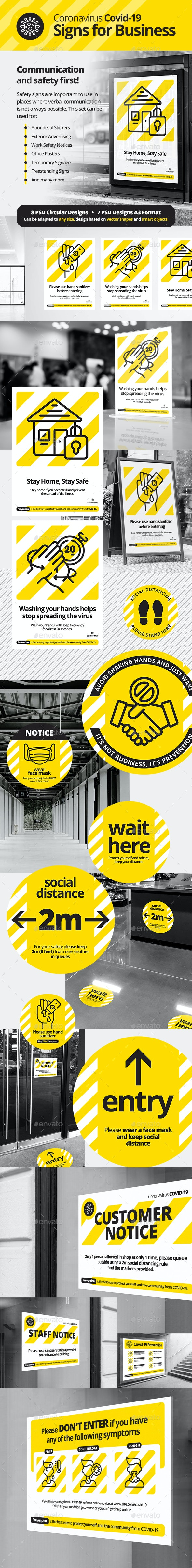 Health and Safety Signs for Business - Signage Print Templates