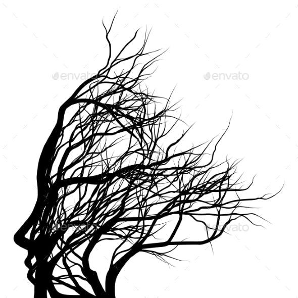 Optical Illusion Bare Tree Face Woman Silhouette