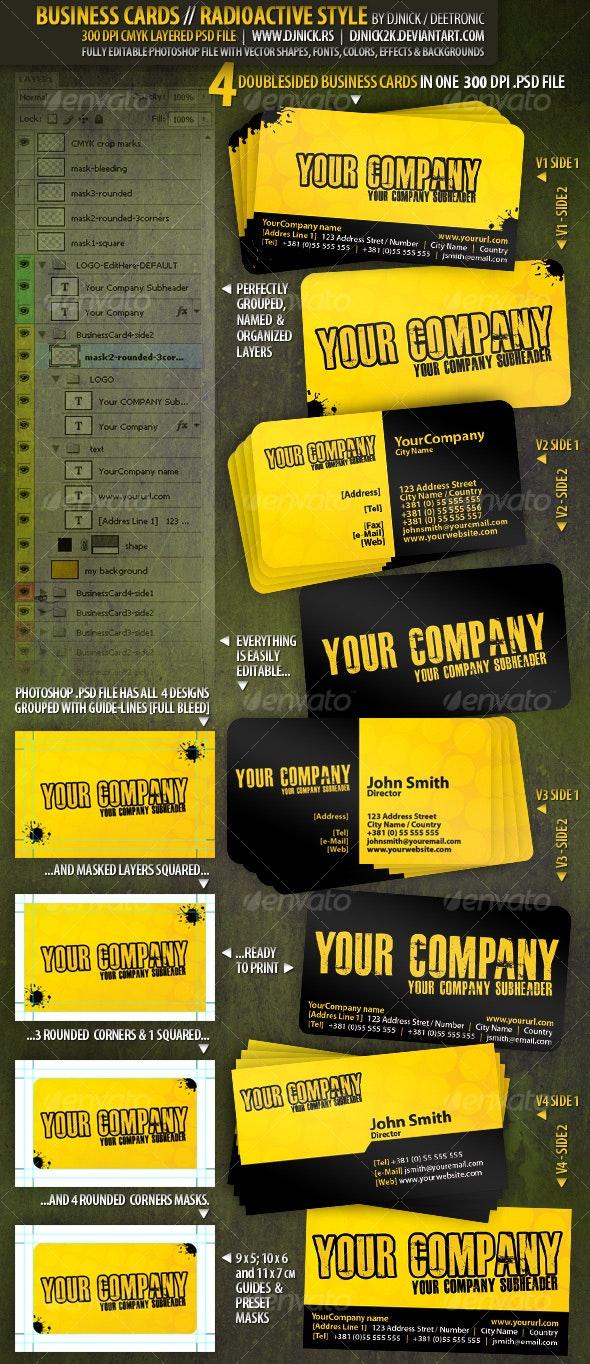 Radioactive Business Cards 300 dpi CMYK by djnick - Grunge Business Cards
