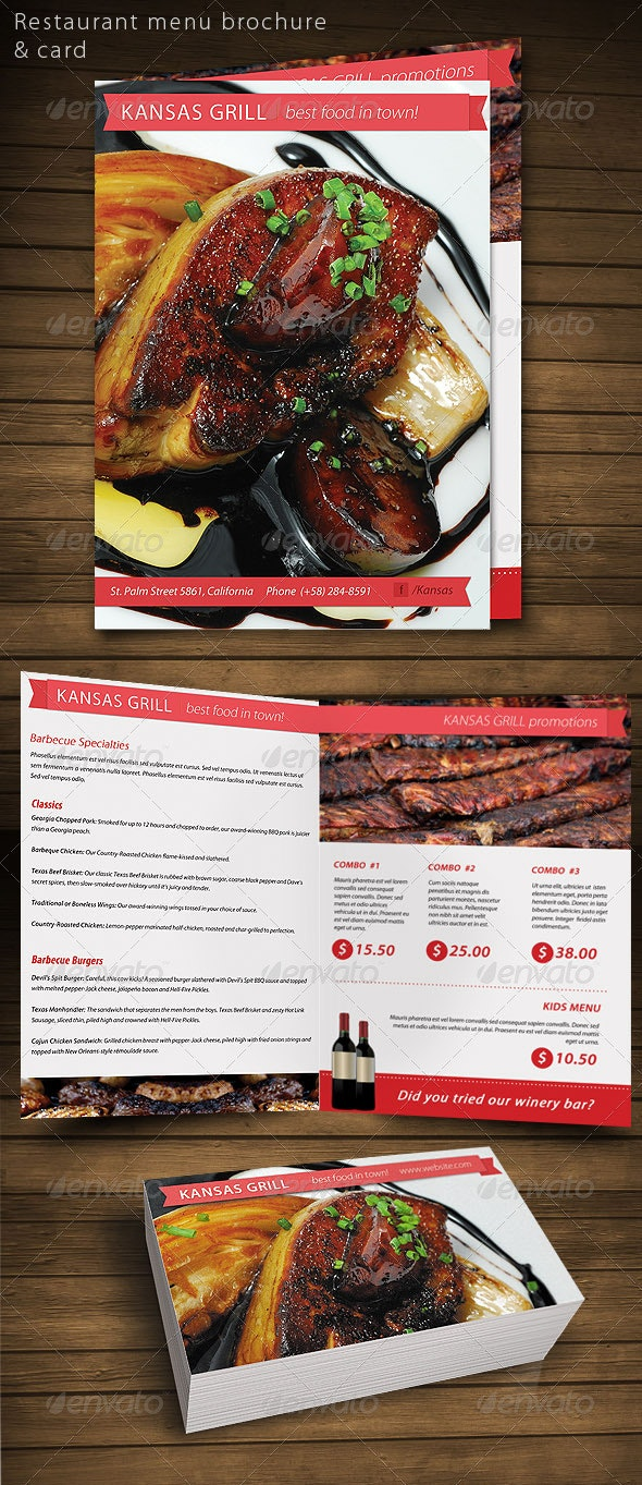Restaurant Food menu brochure card - Industry Specific Business Cards