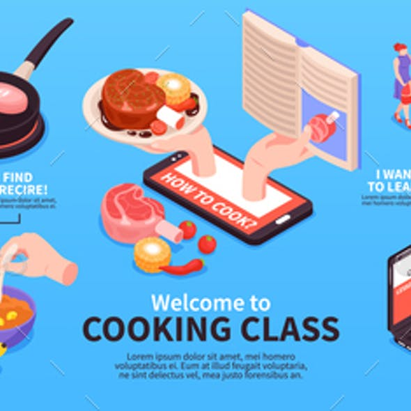 Cooking Class Isometric Infographics
