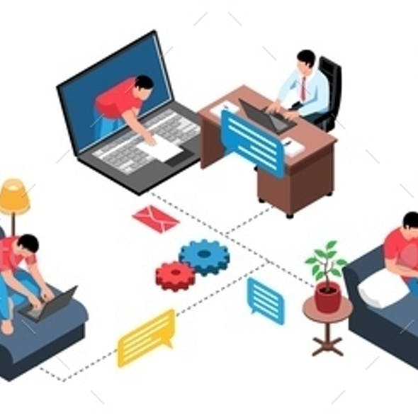 Home Working Isometric Infographics