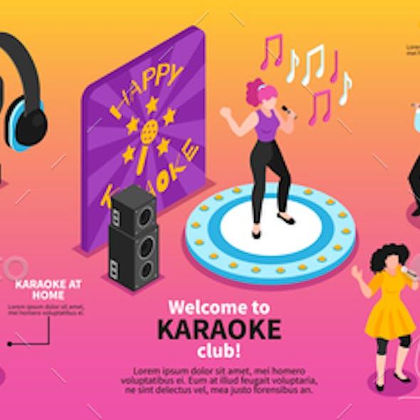 Karaoke Music Isometric Infographics