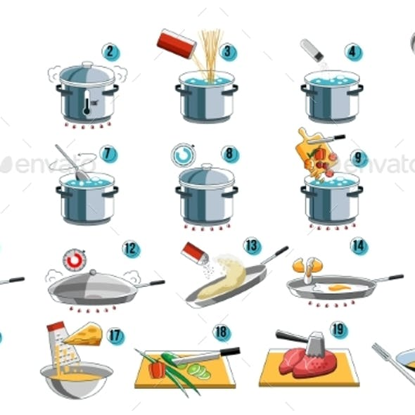 Cook Icon Guide for Food Menu Design with Kithcen