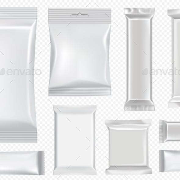Flow Pack and Chocolate Bar White Snack Package