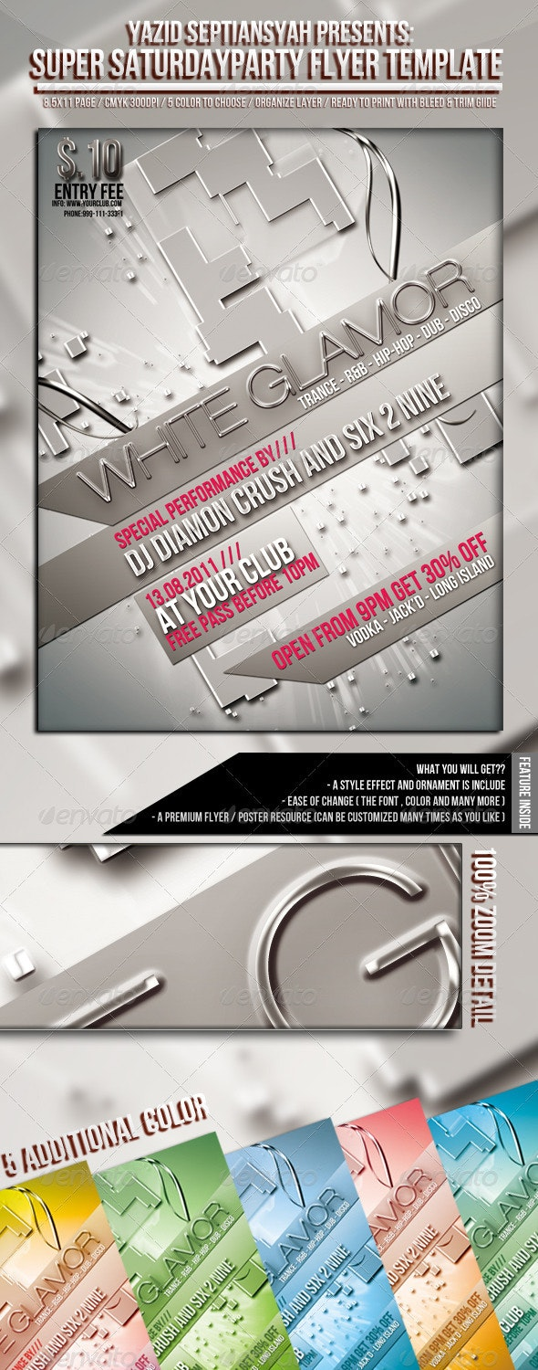 White Glamor Party Flyer Template - Clubs & Parties Events