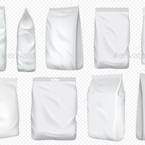 Foil Bag Vector Plastic Pack and Paper Pouch