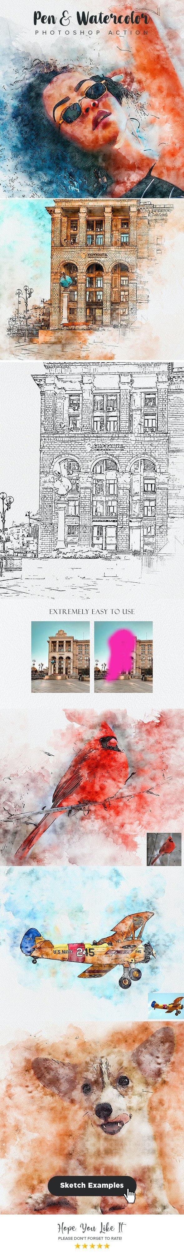 Pen & Watercolor Photoshop Action - Actions Photoshop
