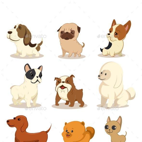 Dog Vector Cartoon Set