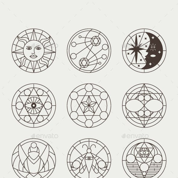 Mystical Occult and Witchcraft Tattoos and Symbols Vector Set