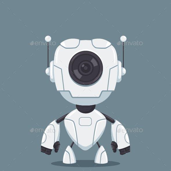 Robot Cyborg Vector Cartoon Icon