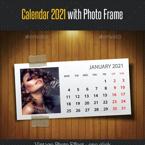 Customizable Calendar 2021 Photo Frame