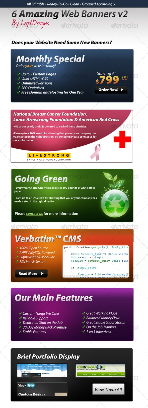 6 Web Banners v2 - Miscellaneous Web Elements