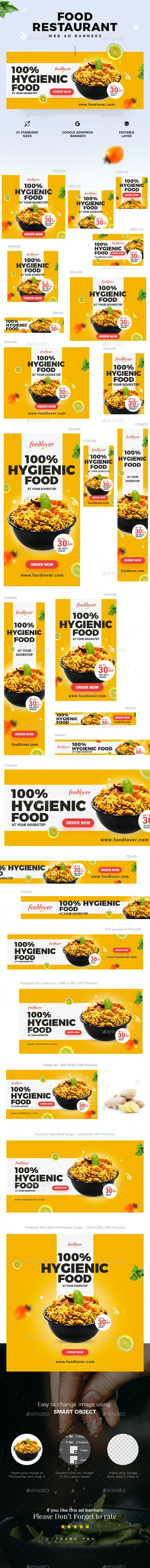 Food & Restaurant Web Ad Banners - Banners & Ads Web Elements