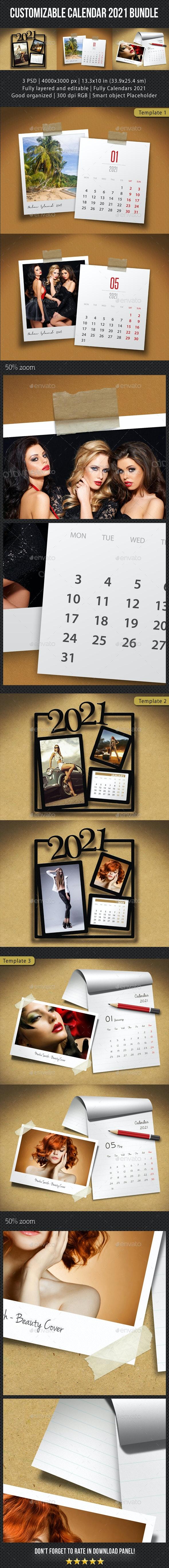 3 in 1 Customizable Calendar 2021 Bundle V02 - Miscellaneous Photo Templates