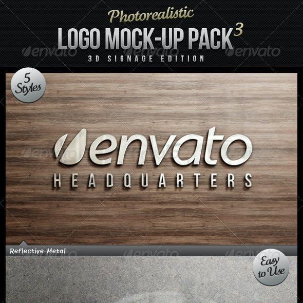 Photorealistic Logo Mock-Up Pack 3