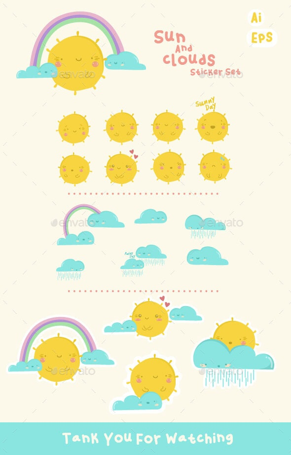 Sun and Clouds Sticker Set - Characters Vectors