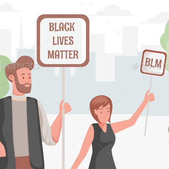Black Lives Matter Poster with Protesting Young