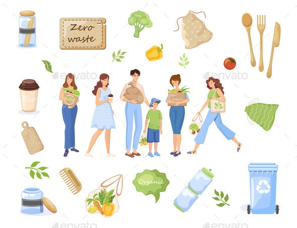 Zero Waste Objects. People Carrying Recycling - Food Objects