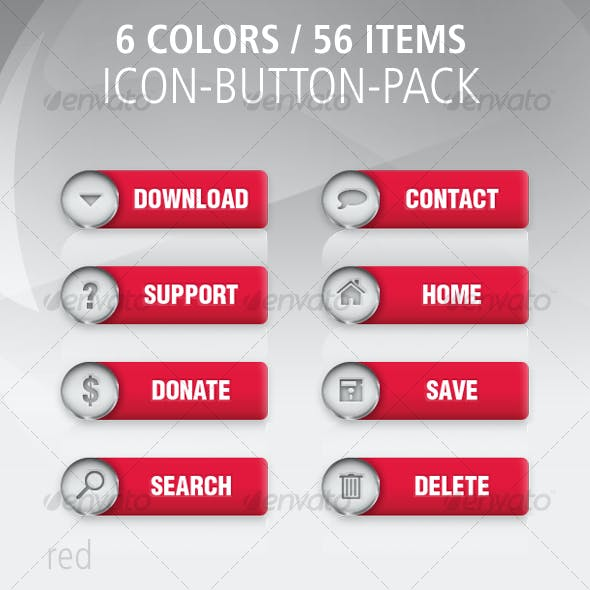 56 Color Button-Icon-Set: Colored / Metal
