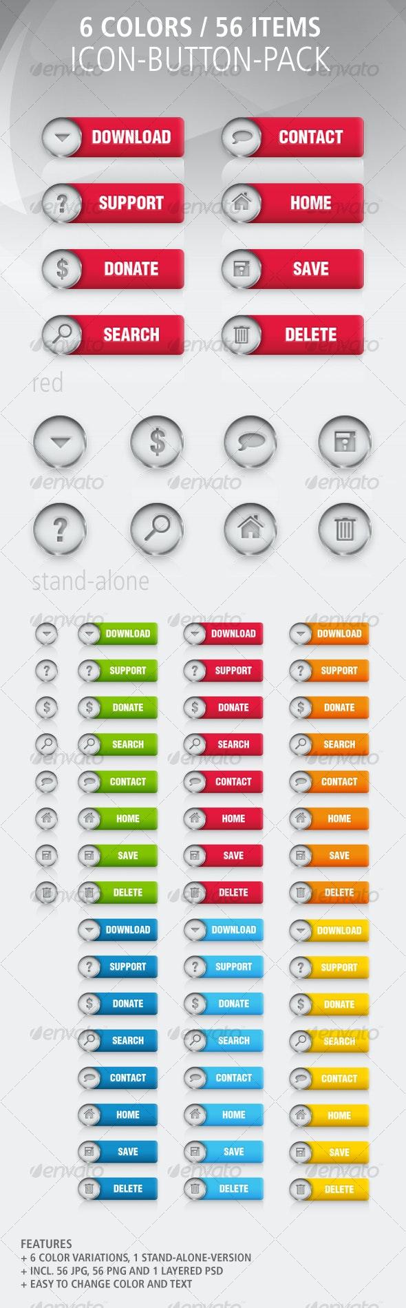 56 Color Button-Icon-Set: Colored / Metal - Buttons Web Elements