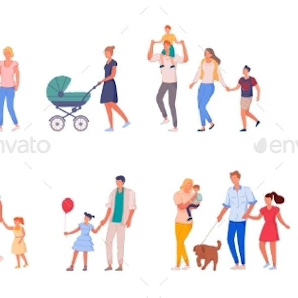 Family on Walk Set Isolated on White Background